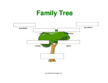 3 Generation Family Tree with Large Boxes Template