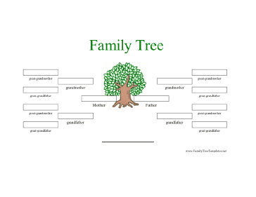 ... four generation family tree includes a small green tree and one parent