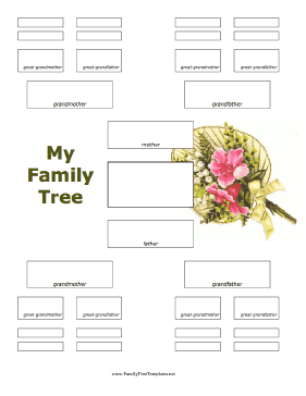 5 Generation Family Tree with Flowers Template