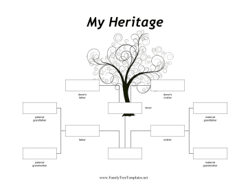 donor family tree template featuring a tall black and white tree this ...
