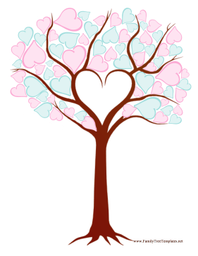 heart family tree template this printable family tree is made up ...