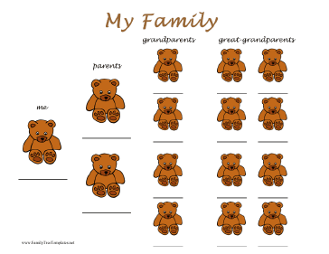 Teddy Bears Family Tree Template