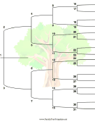 5 Generation Family Tree with Brackets and Colorful Tree - Vertical